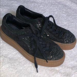 PUMA Basket snakeskin embossed platform sneakers